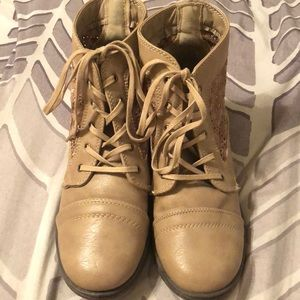 Tan Lace-Up Booties with Floral Lace - Size 8